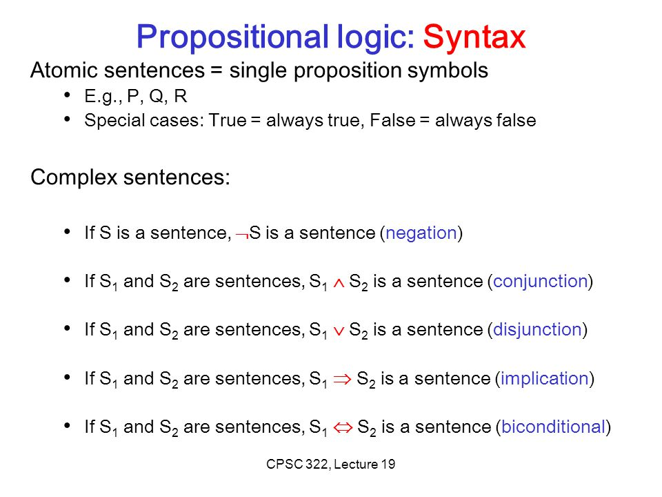 Propositional logic: Syntax