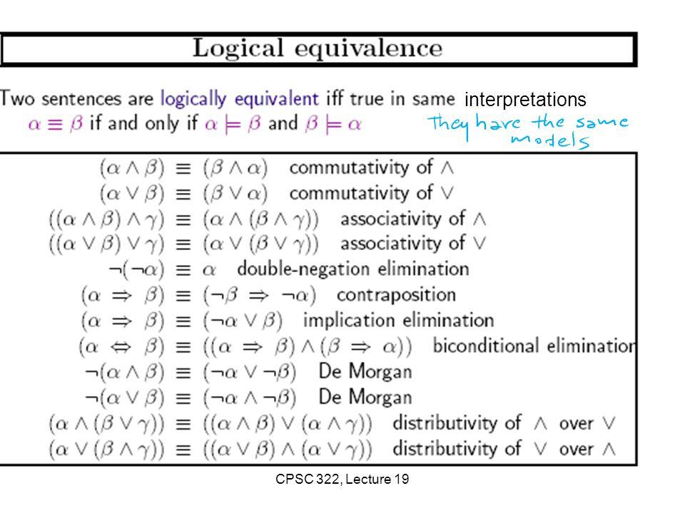 interpretations CPSC 322, Lecture 19