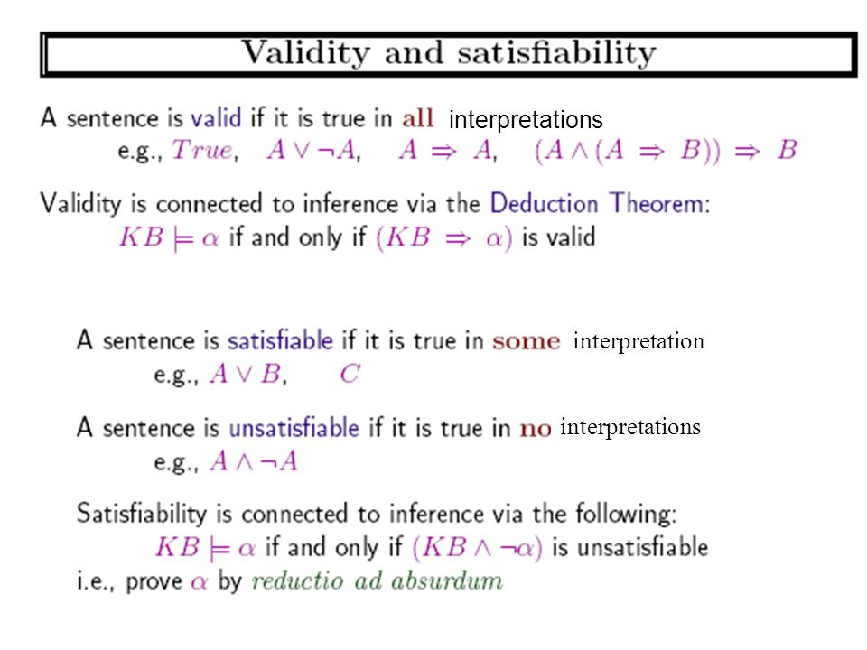 interpretations interpretation interpretations CPSC 322, Lecture 19