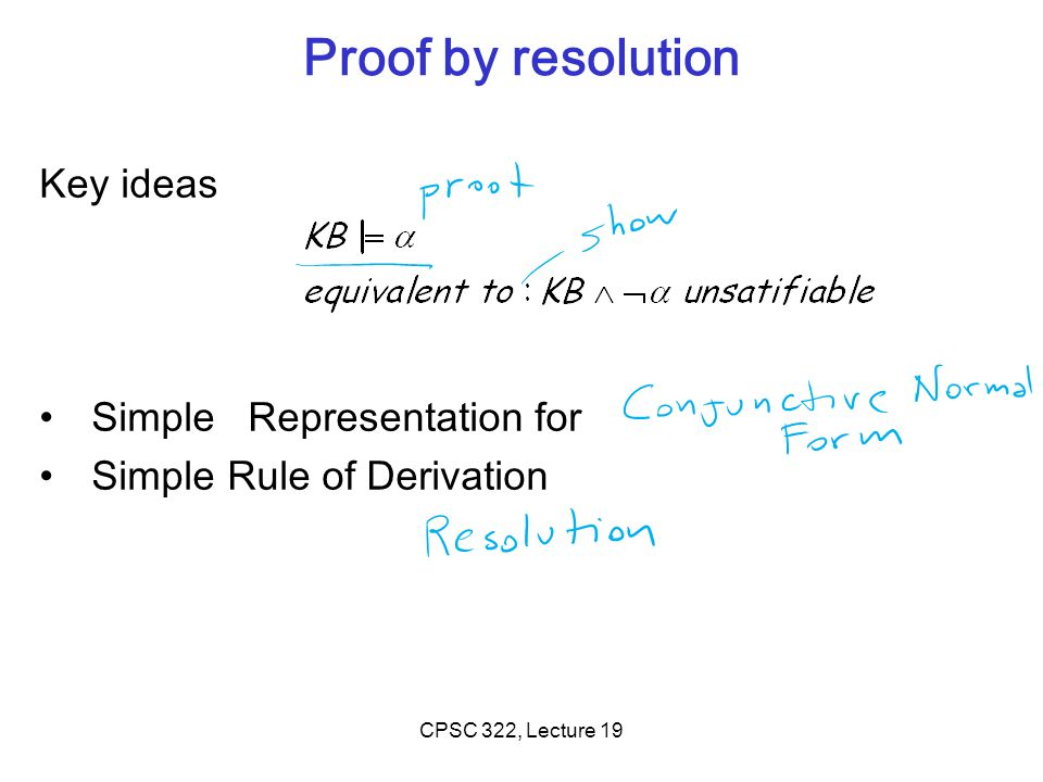 Proof by resolution Key ideas Simple Representation for