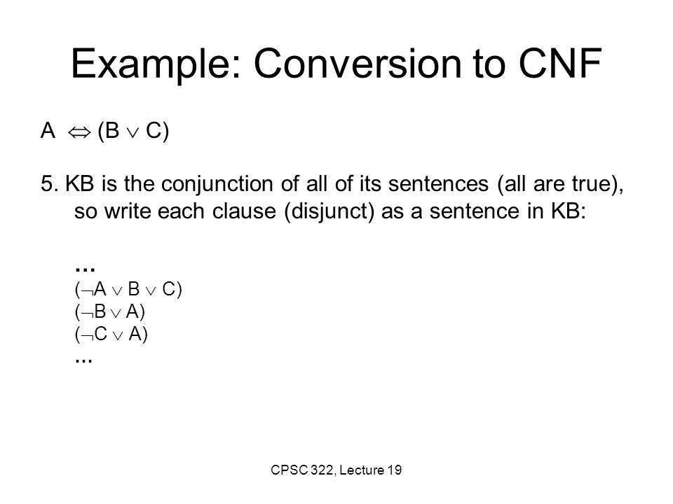 Example: Conversion to CNF