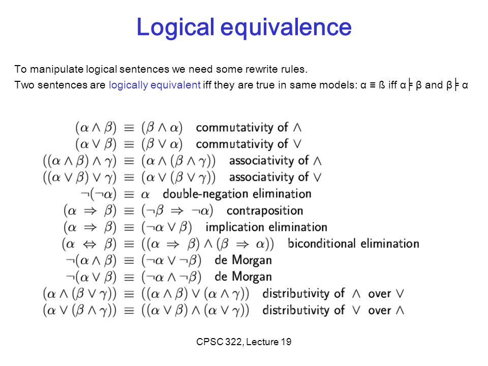 Logical equivalence To manipulate logical sentences we need some rewrite rules.