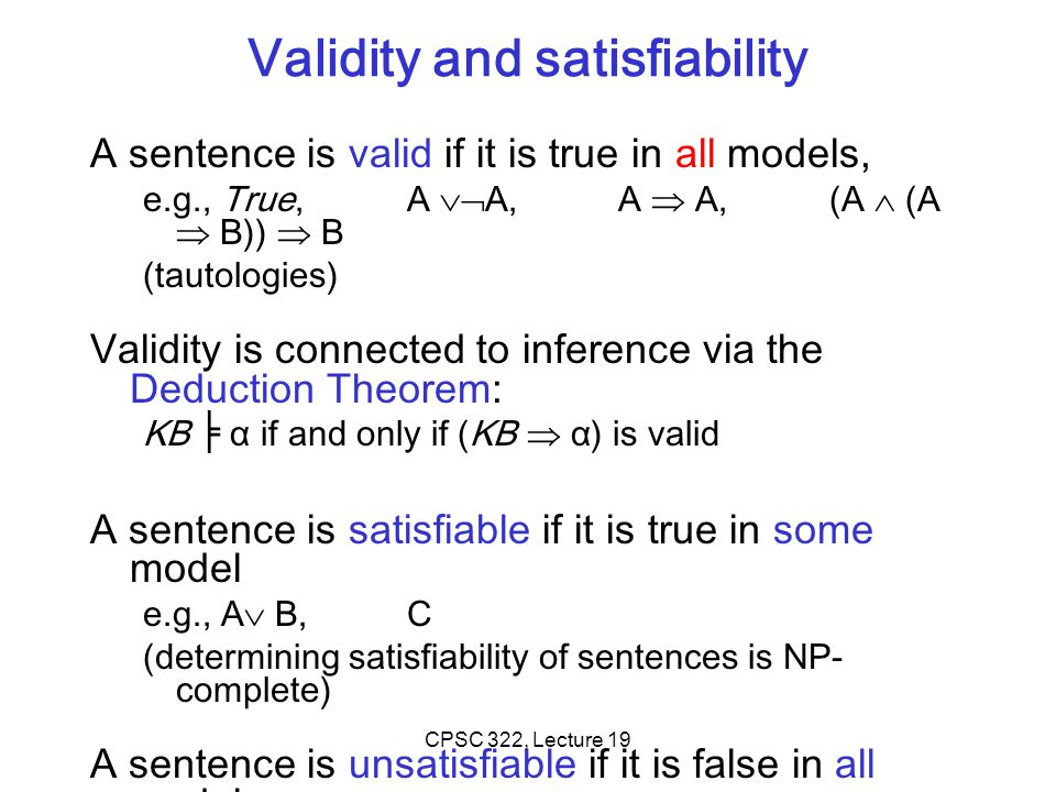 Validity and satisfiability