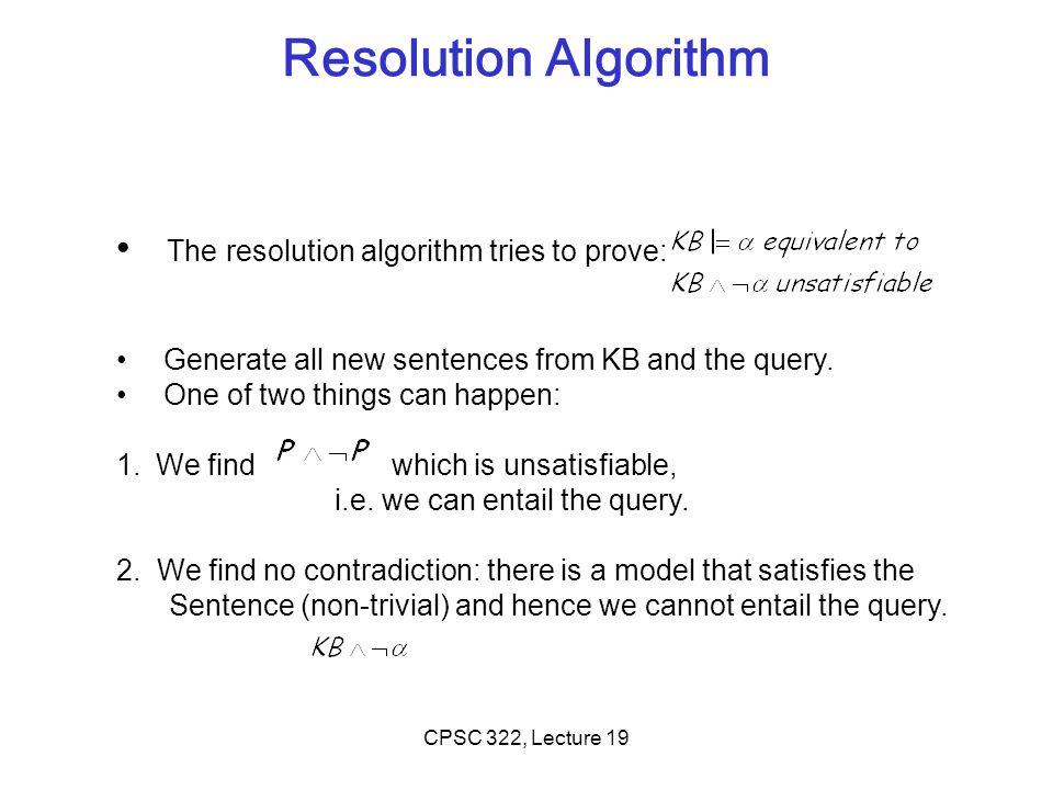 Resolution Algorithm The resolution algorithm tries to prove: