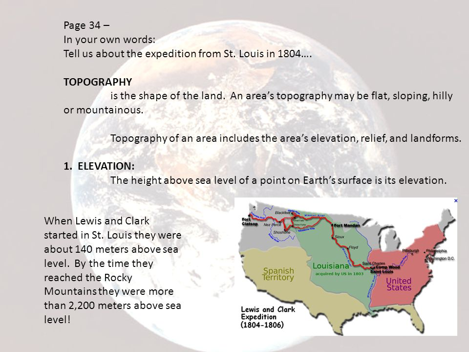 Page 34 – In your own words: Tell us about the expedition from St. Louis in 1804…. TOPOGRAPHY.