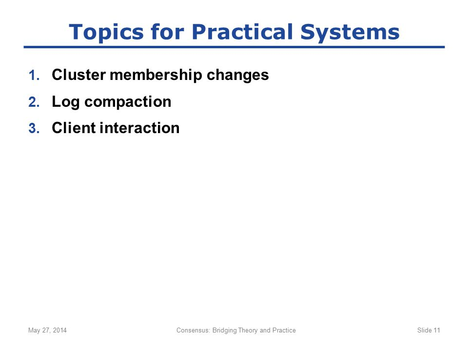 Topics for Practical Systems