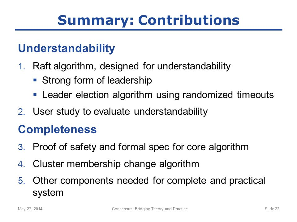 Summary: Contributions