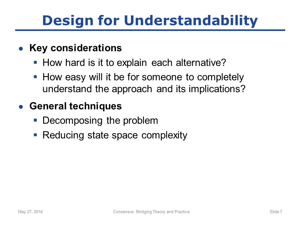 Design for Understandability