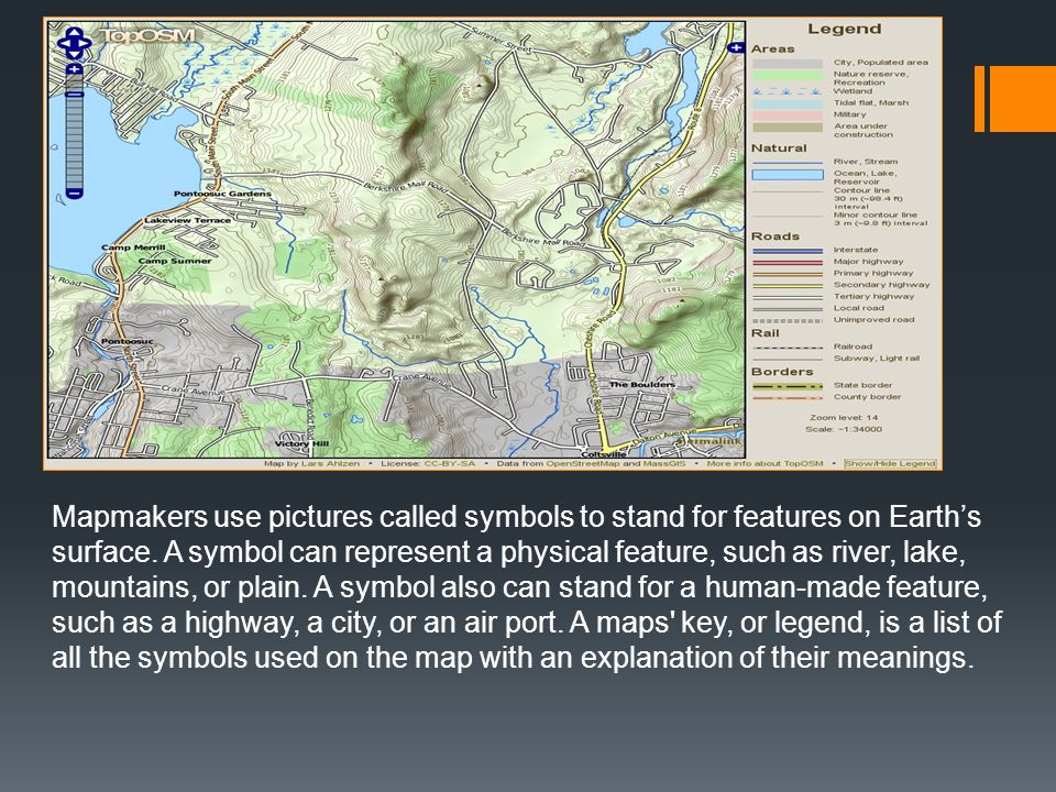 Mapmakers use pictures called symbols to stand for features on Earth's surface.