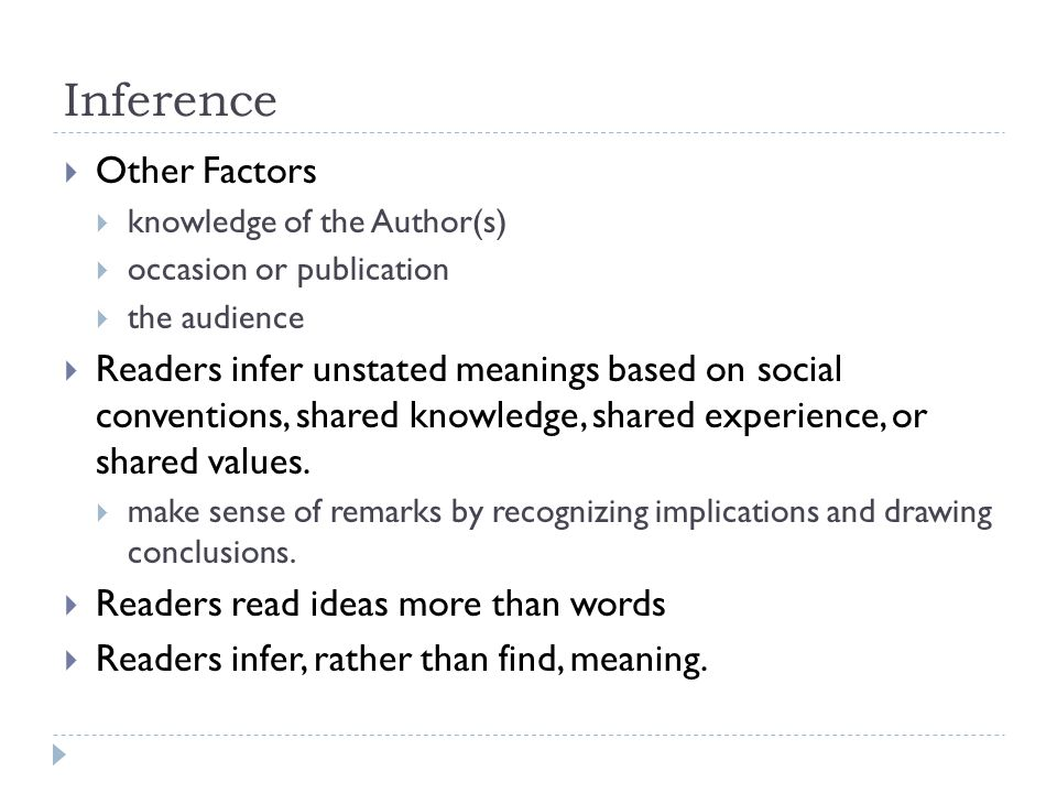 Inference Other Factors