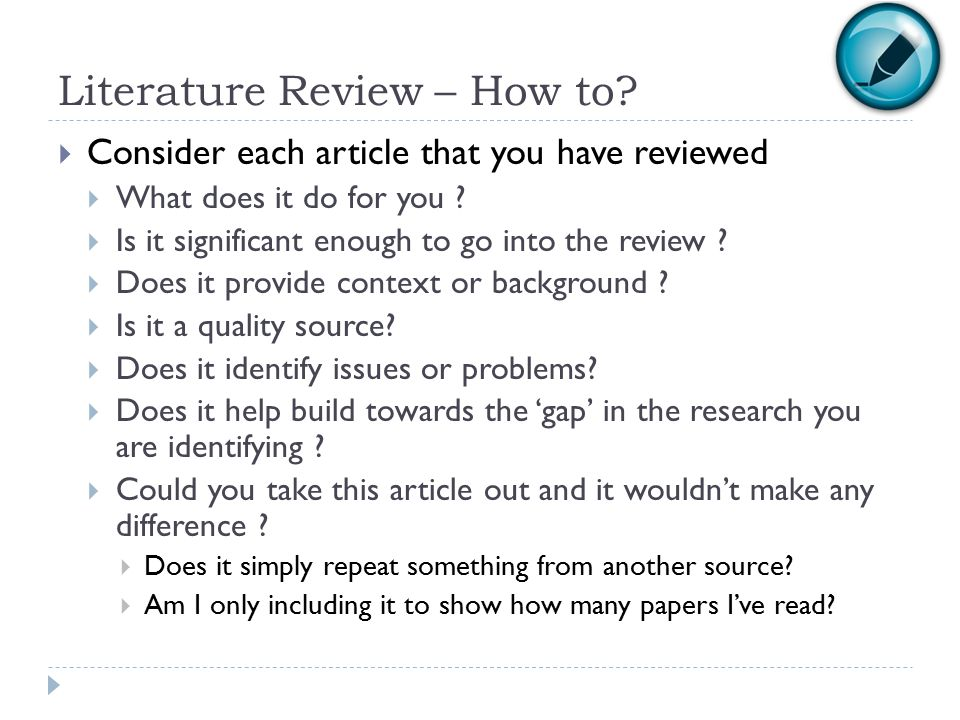 Literature Review – How to