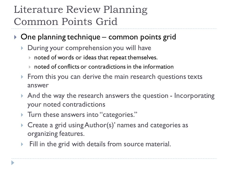 Literature Review Planning Common Points Grid