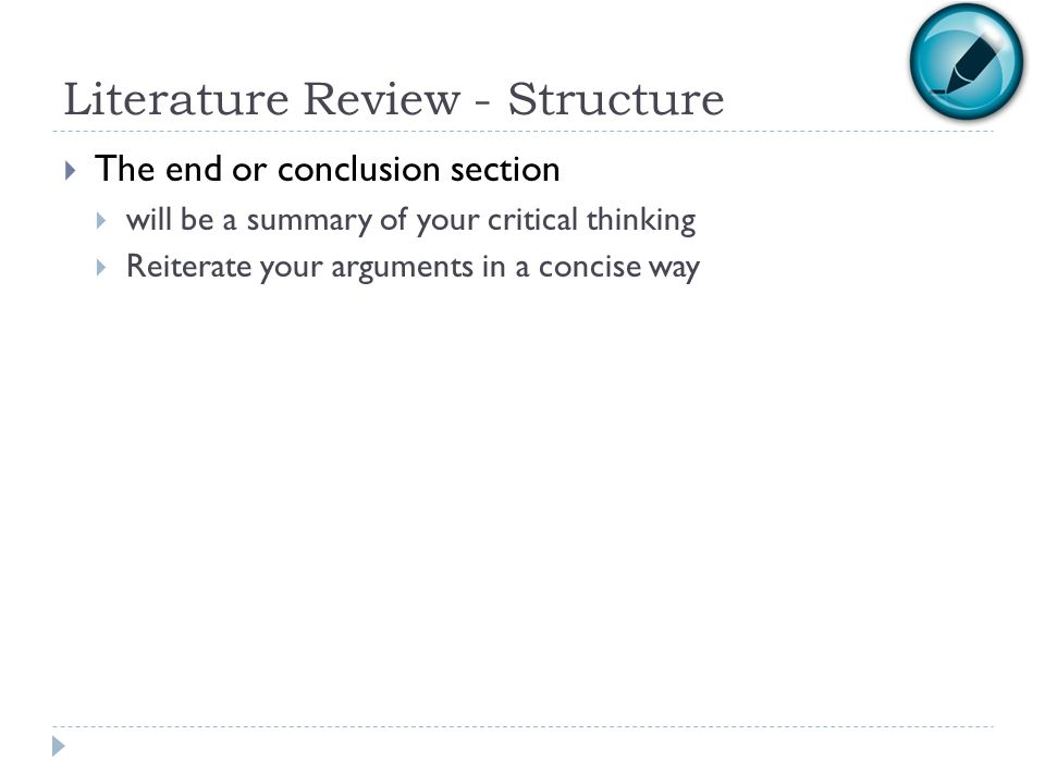 Literature Review - Structure