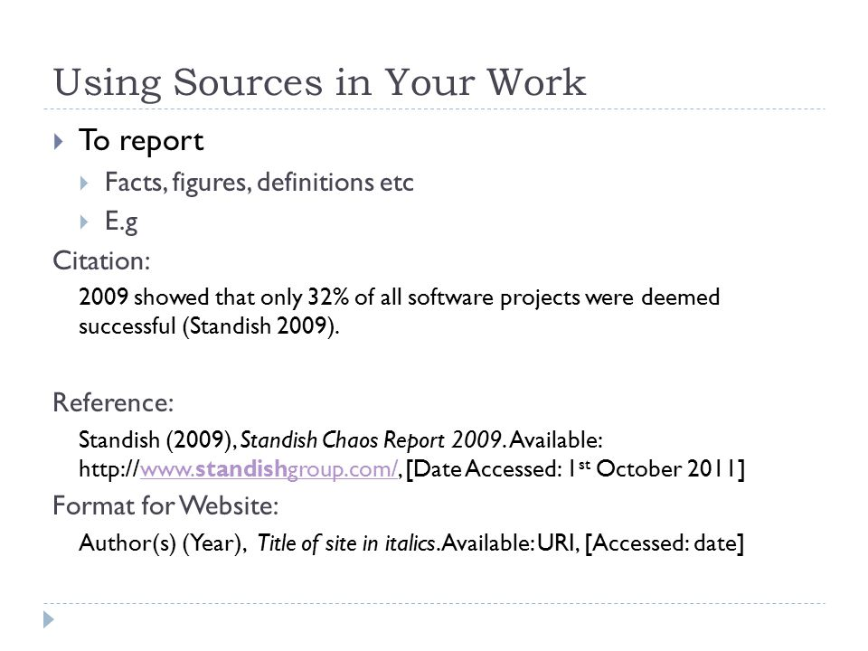 Using Sources in Your Work
