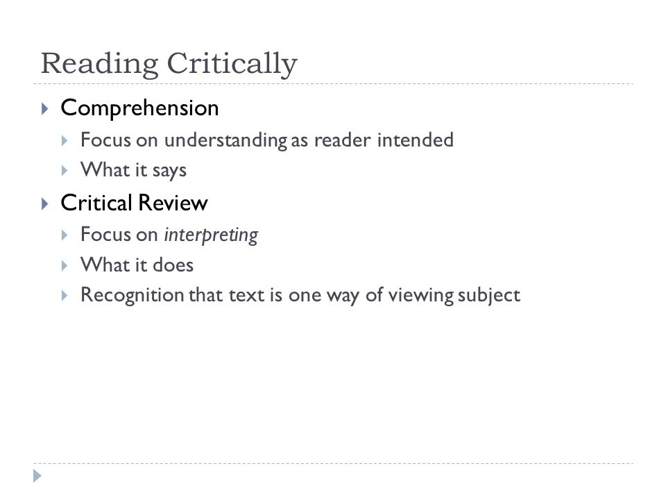 Reading Critically Comprehension Critical Review