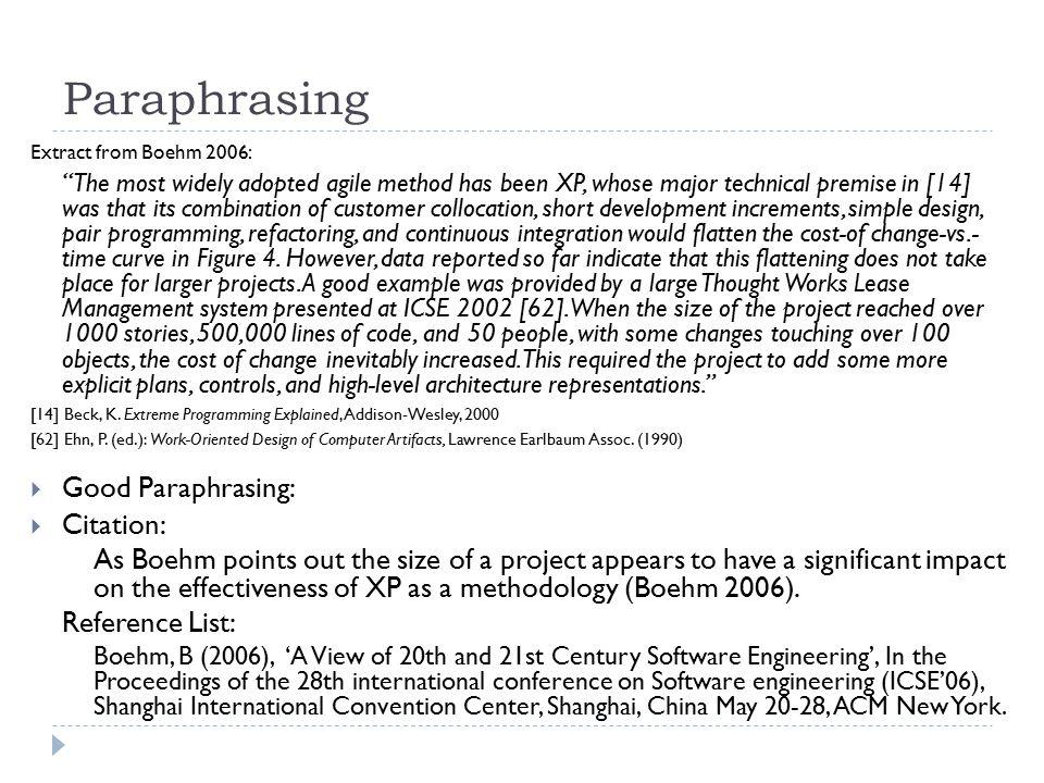 Paraphrasing Good Paraphrasing: Citation: