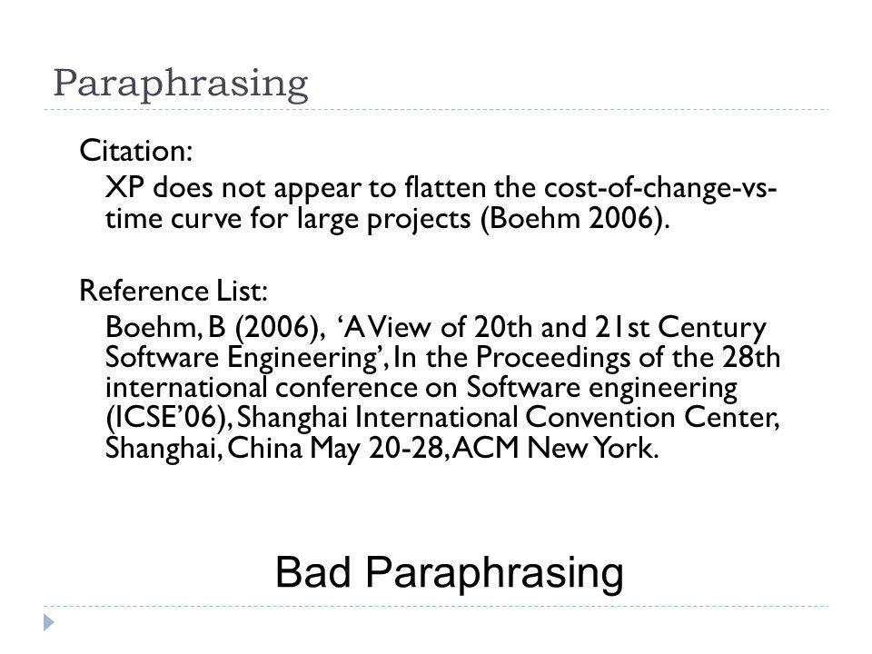 Bad Paraphrasing Paraphrasing Citation: