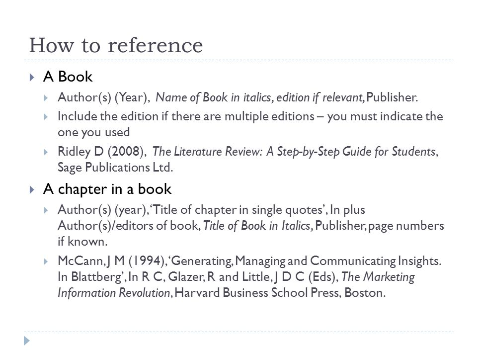 How to reference A Book A chapter in a book