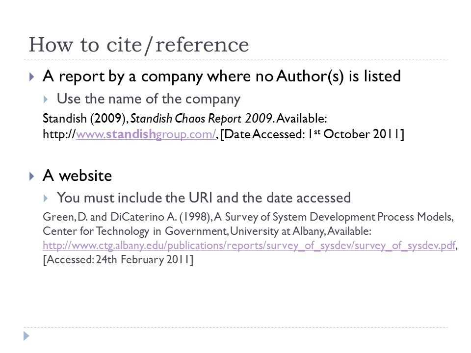 How to cite/reference A report by a company where no Author(s) is listed. Use the name of the company.