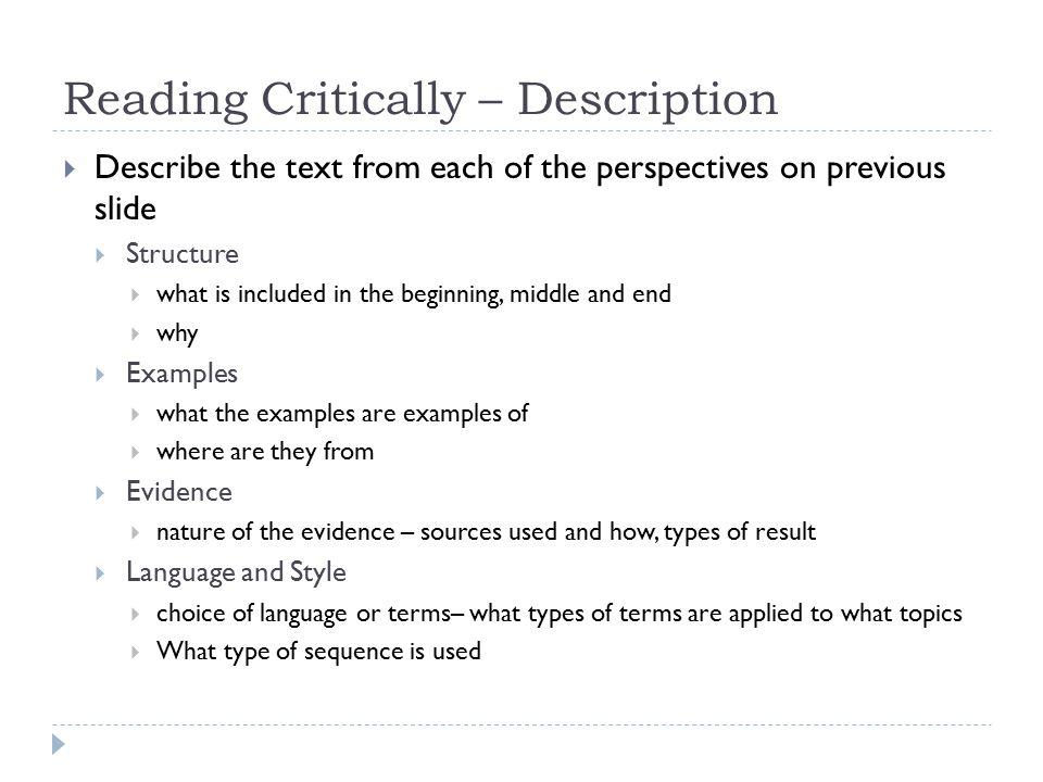 Reading Critically – Description