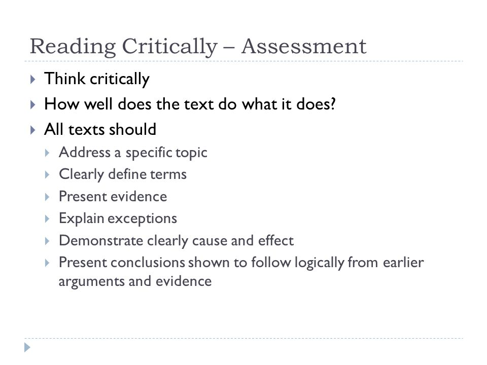 Reading Critically – Assessment