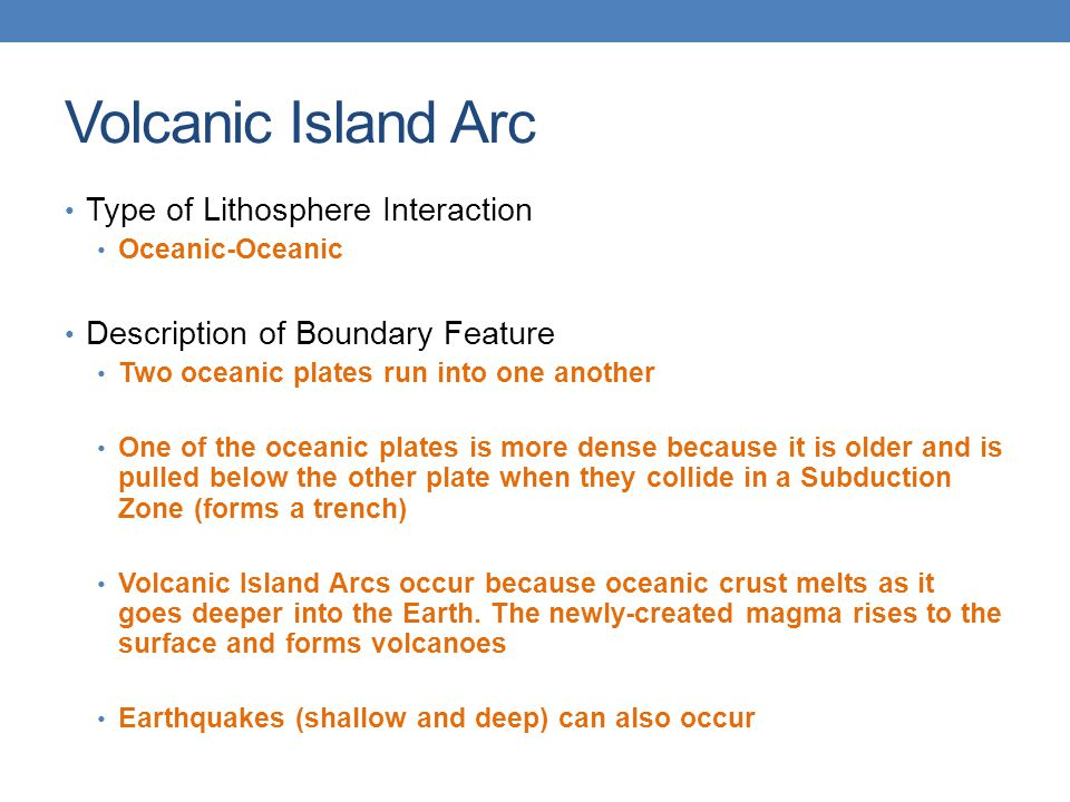 Volcanic Island Arc Type of Lithosphere Interaction
