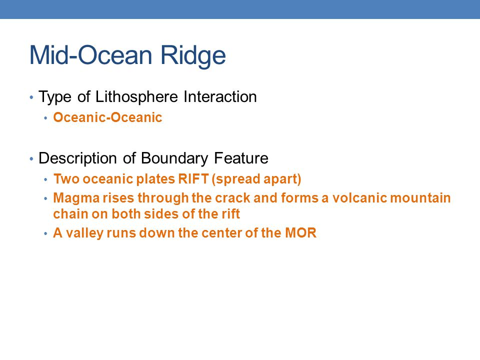 Mid-Ocean Ridge Type of Lithosphere Interaction