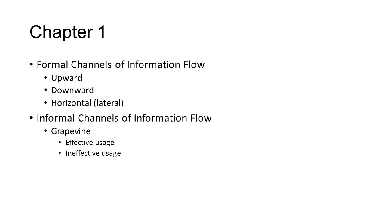 Chapter 1 Formal Channels of Information Flow