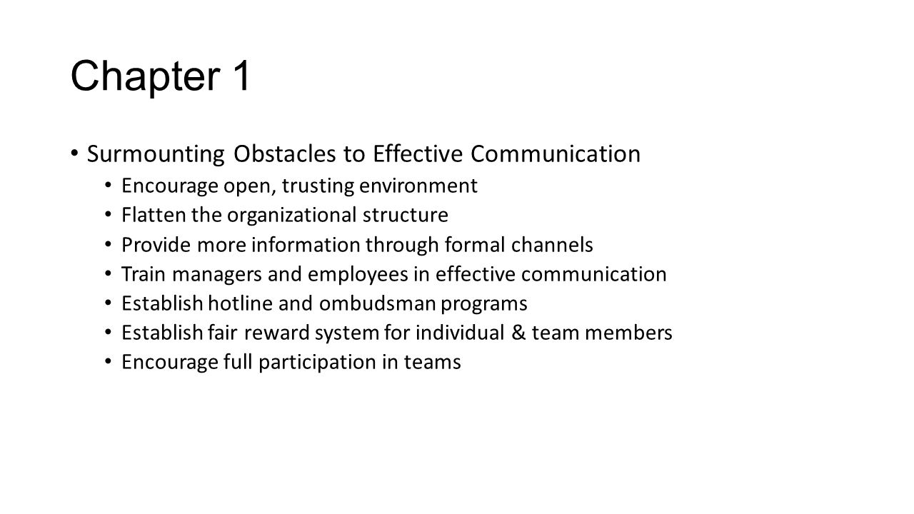 Chapter 1 Surmounting Obstacles to Effective Communication