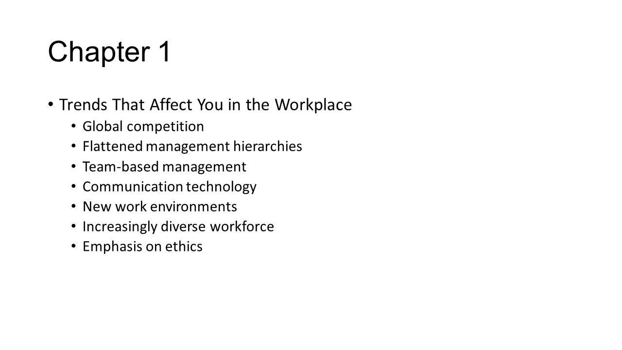 Chapter 1 Trends That Affect You in the Workplace Global competition