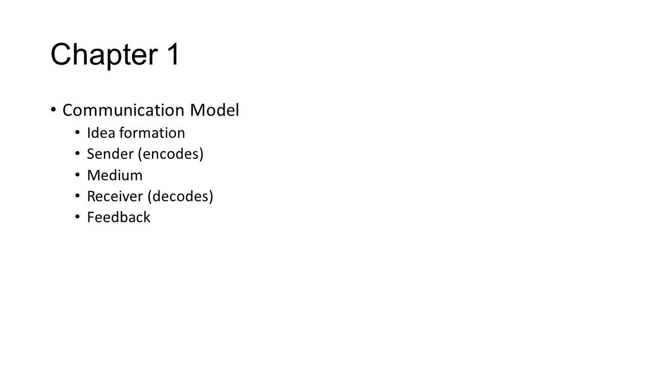 Chapter 1 Communication Model Idea formation Sender (encodes) Medium