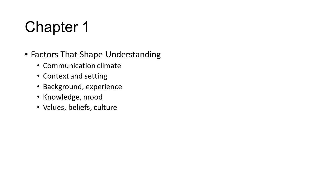 Chapter 1 Factors That Shape Understanding Communication climate