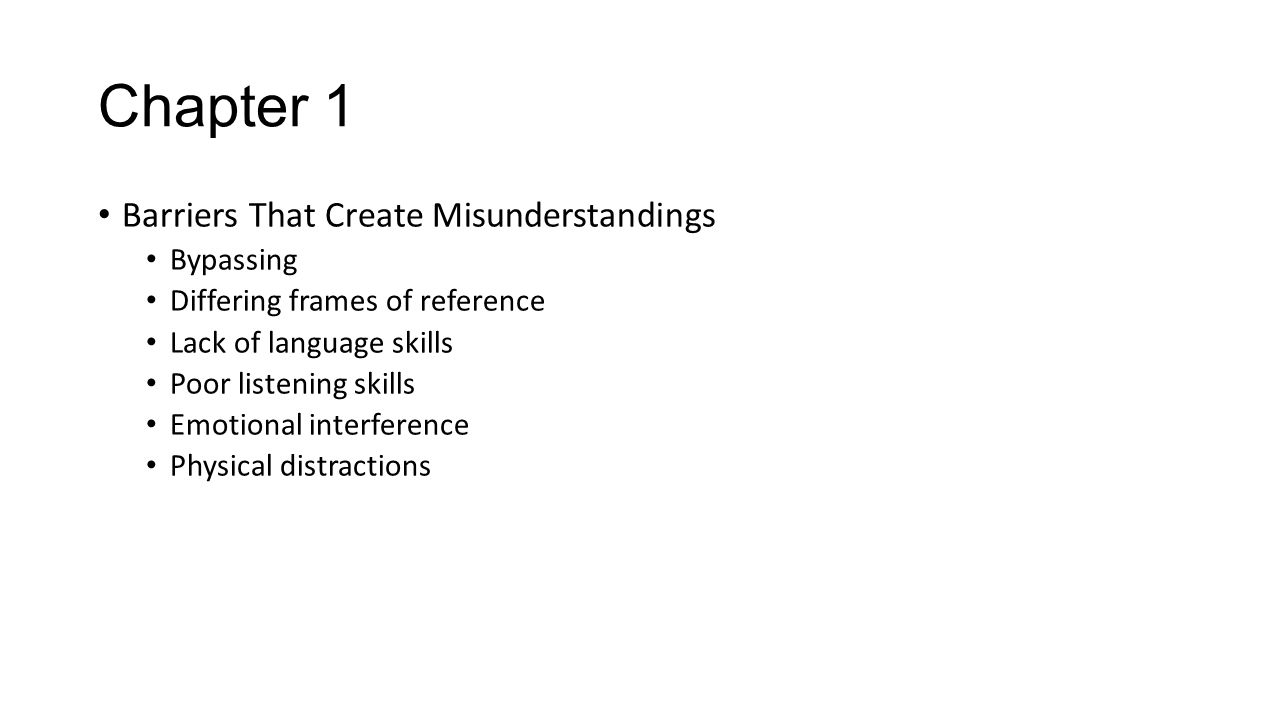 Chapter 1 Barriers That Create Misunderstandings Bypassing