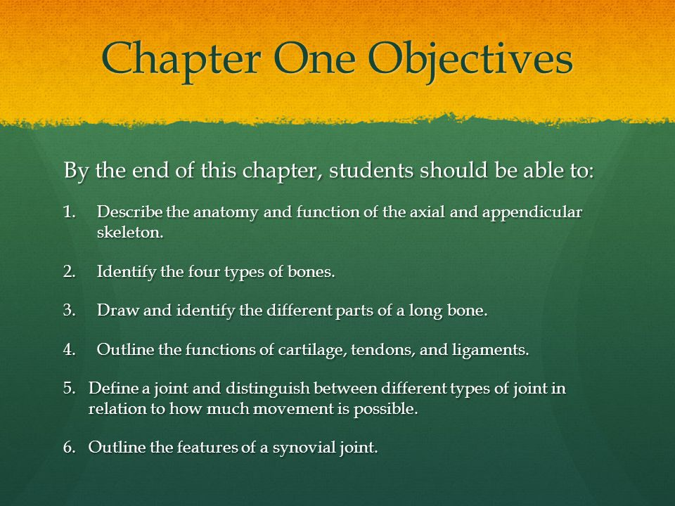 Chapter One Objectives