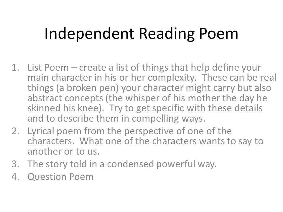 Independent Reading Poem