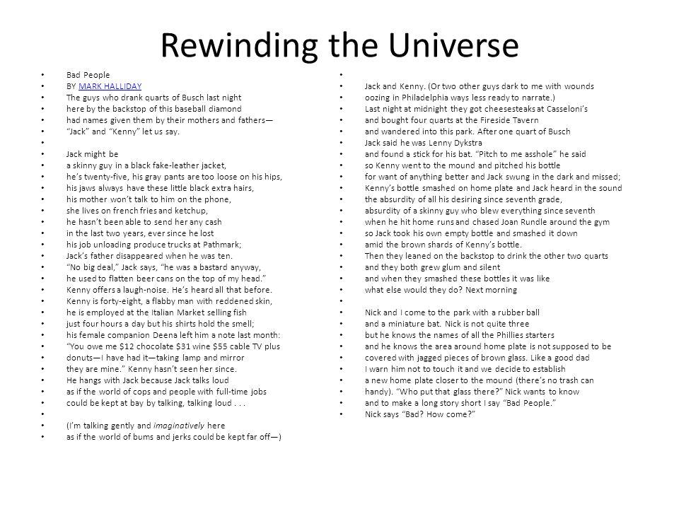 Rewinding the Universe