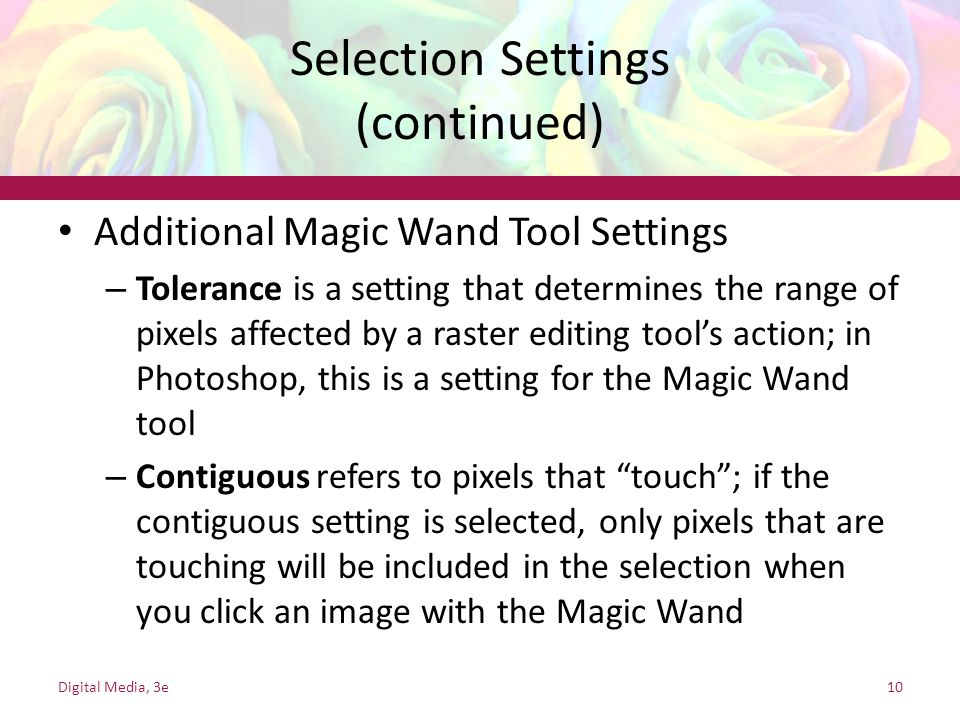 Selection Settings (continued)