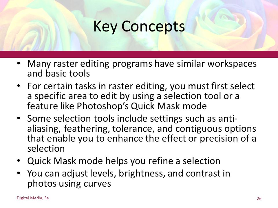 Key Concepts Many raster editing programs have similar workspaces and basic tools.