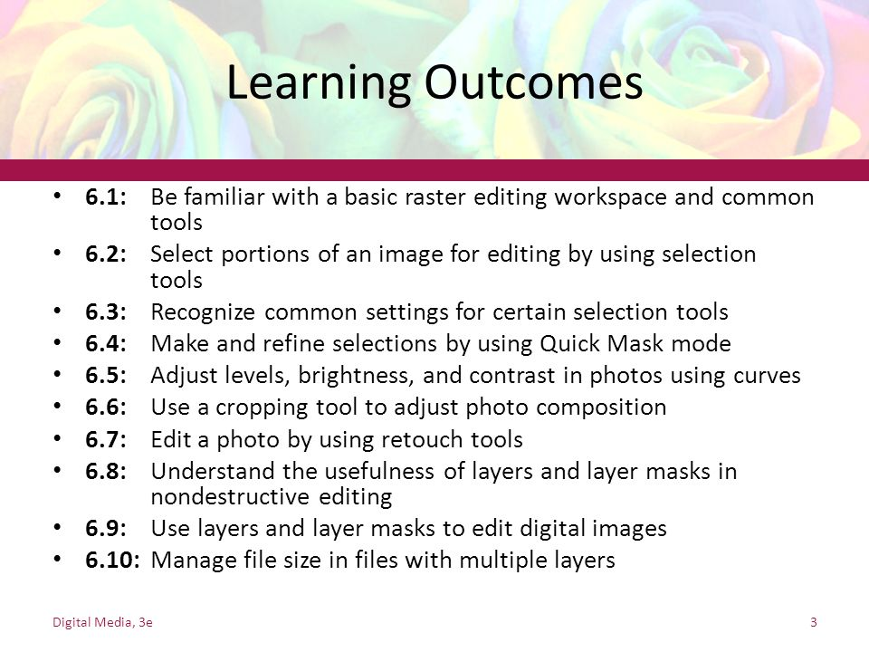 Learning Outcomes 6.1: Be familiar with a basic raster editing workspace and common tools.