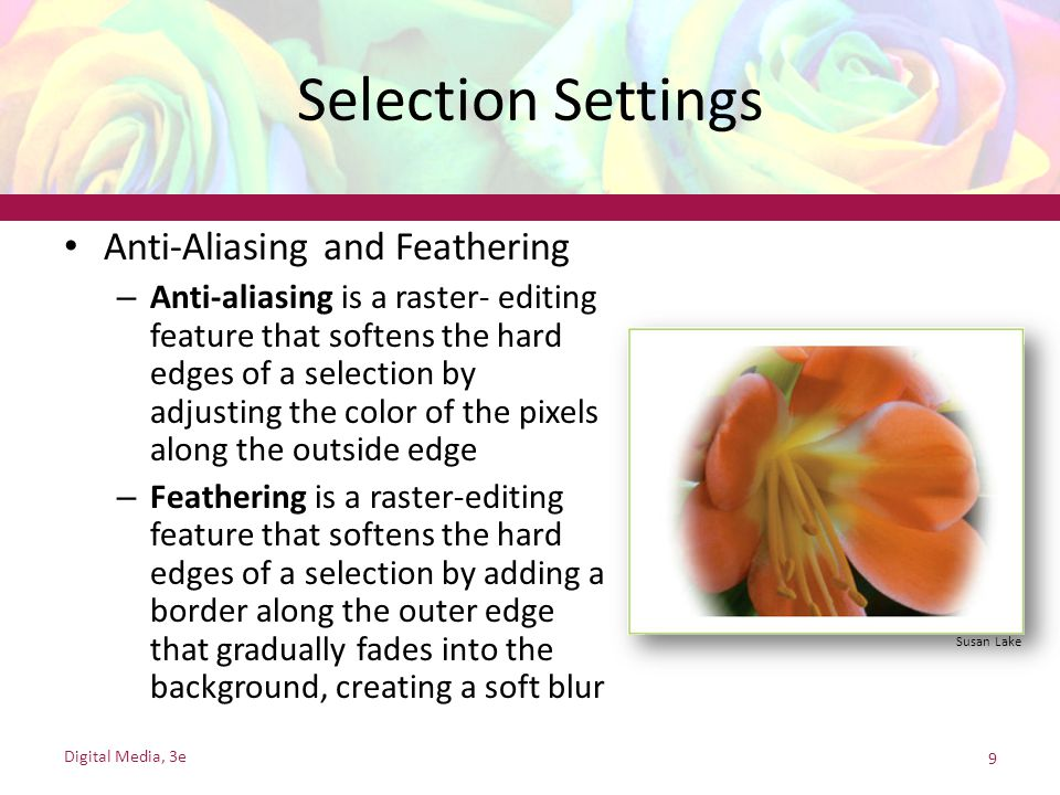Selection Settings Anti-Aliasing and Feathering