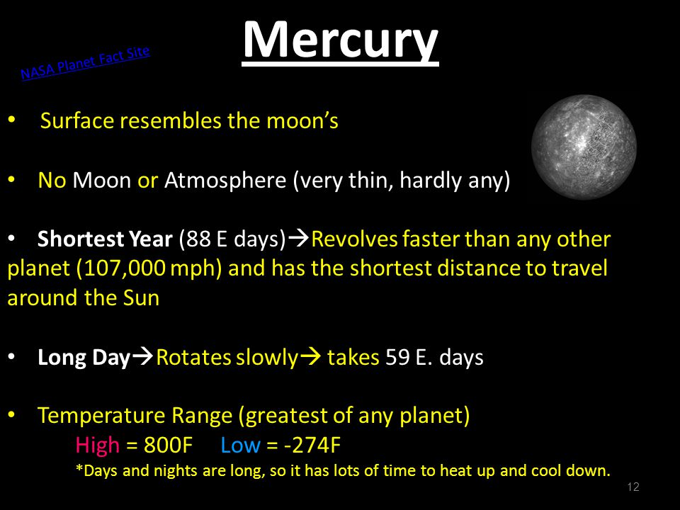 Mercury Surface resembles the moon's