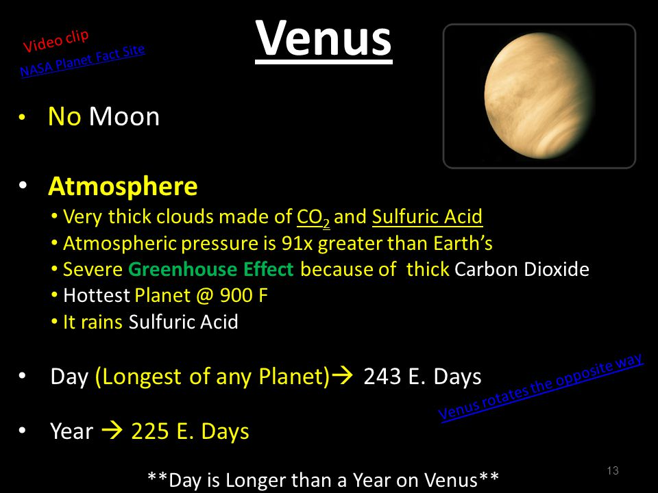 **Day is Longer than a Year on Venus**
