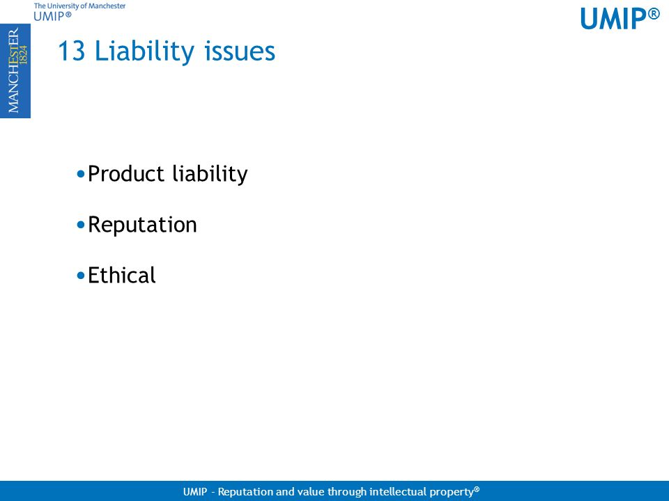 13 Liability issues Product liability Reputation Ethical