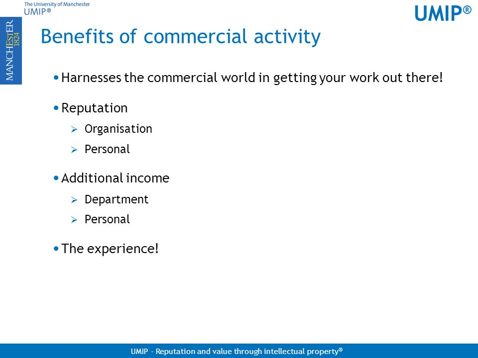 Benefits of commercial activity