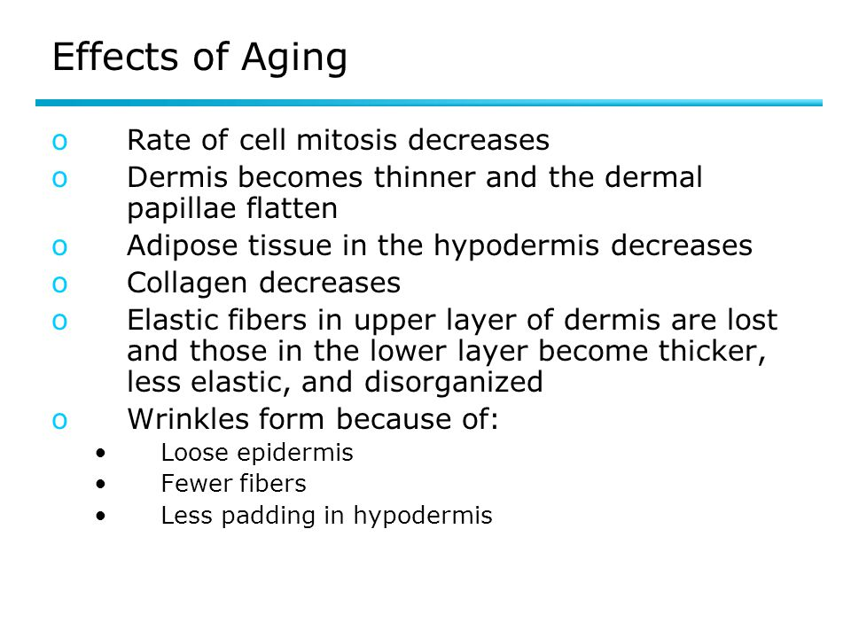 Effects of Aging Rate of cell mitosis decreases