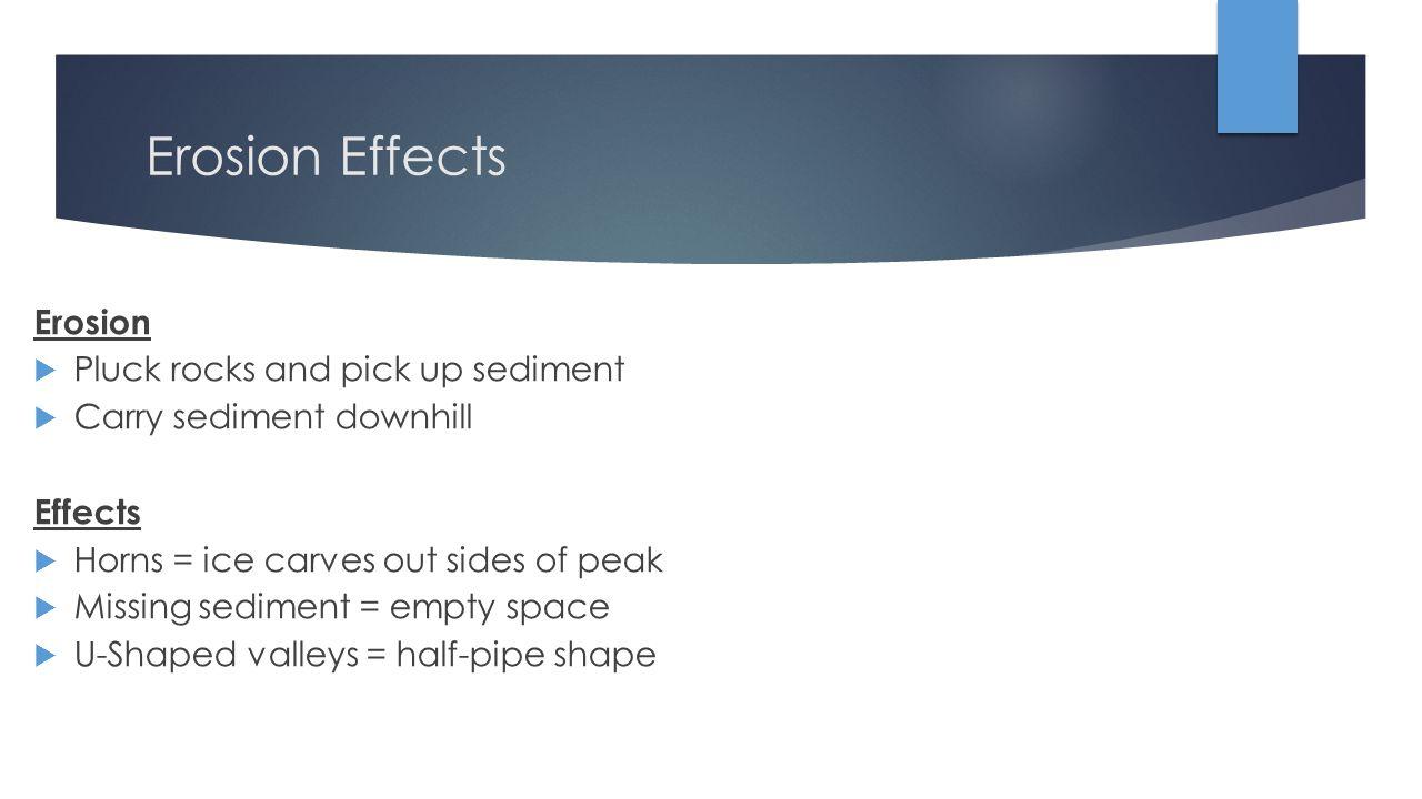 Erosion Effects Erosion Pluck rocks and pick up sediment