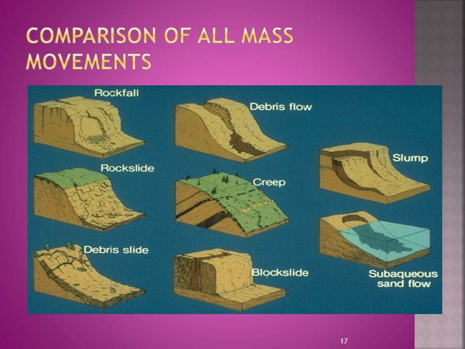 Comparison of all Mass Movements