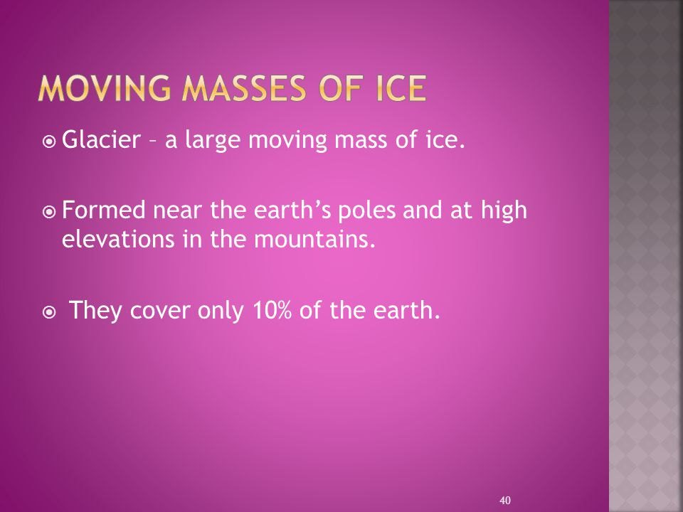 MOVING Masses of Ice Glacier – a large moving mass of ice.