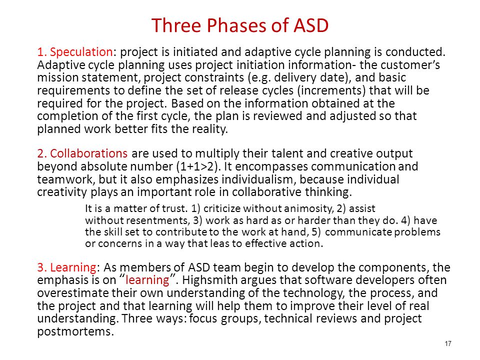 Three Phases of ASD