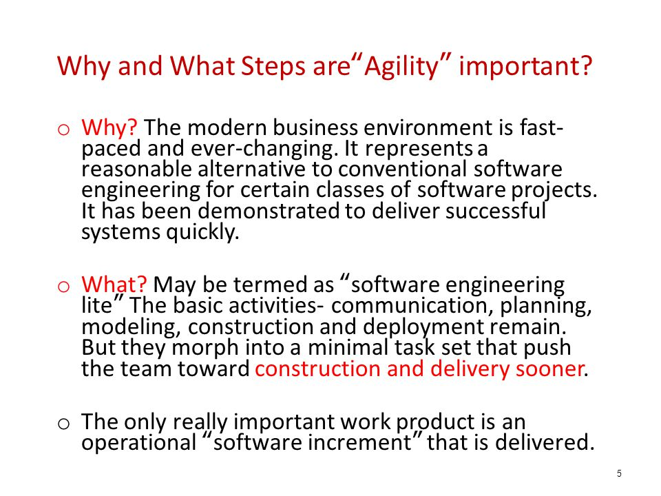 Why and What Steps are Agility important